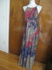 Anthropologie Bhanuni Jyoti women's pink rose evening maxi dress size 14 NWT