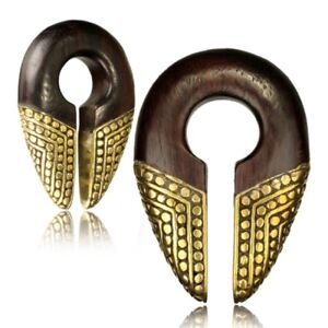 "PAIR TRIBAL 1/2"" INCH (12mm BRASS & SONO WOOD EAR WEIGHTS PLUGS STRETCH GAUGE"
