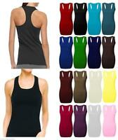 Ladies Women's Long Racer Back Bodycon Muscle Vest Top Gym Top All Plus Sizes