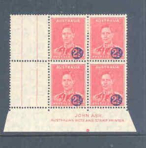 AUSTRALIA PREDECIMAL 1941 SURCHARGES ASH IMPRINT BLOCK VERY FINE MNH/MLH......21