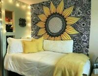 Vibrant Color Yellow Sunflower Wall Hanging Hippy Beach Throw New Tapestry