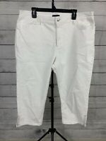 Not Your Daughters Jeans Sz 18W Crop Capri White Denim Lift Tuck High Rise NYDJ