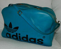 VINTAGE 70s 80s ADIDAS Firebird TREFOIL Gym DUFFEL Duffle BAG Black BLUE Leather