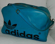 VINTAGE 70s 80s ADIDAS Firebird TREFOIL Gym DUFFEL Duffle BAG Black BLUE Leather