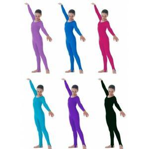 Girls Shiny Nylon  Stirrup foot Long Sleeve Catsuit-Kids Dance, Gymnastics