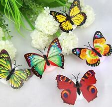 2 X BUTTERFLY LED LIGHT SUCTION CUP NIGHT MOOD DECOR LAMP FAIRY GARDEN PARTY NEW