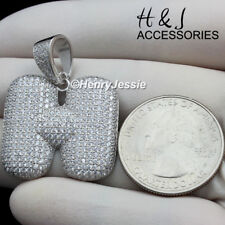 """MEN 925 STERLING SILVER ICED OUT BLING BUBBLE INITIAL LETTER """"H"""" PENDANT*ASP203"""