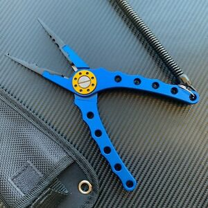 Aluminum Fishing Pliers Braid Line Cutter Hook Remover Tackle Split Tool + Pouch