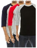 Shaka Wear Raglan Baseball Shirts 3/4 Sleeve Mid-Weight 100% Cotton Top Jersey