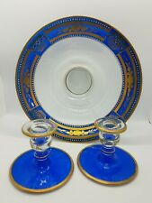 Vintage Cobalt Blue & Gold Hand Painted Console Set Fruit Bowl Candle Holders