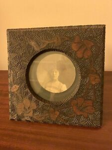 Antique Pyrography Wood Engraved Photo Frame with Photo