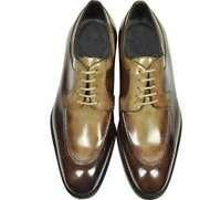 Chaussures à lacets en cuir véritable beige et marron pour hommes faits à la mai