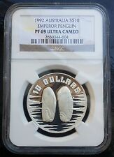 1992 Australia 10 Dollars  Emperor Penguins Silver Proof Coin NGC PF69 UCAM TOP