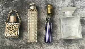 Vintage & Antique Group Of Collectible Perfume Bottles Glass & Silver