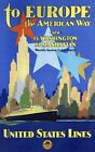 """Vintage Illustrated Travel Poster CANVAS PRINT Cruise US lines Ship 24""""X16"""""""