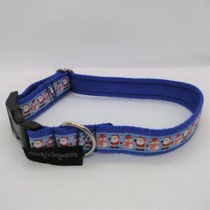 Christmas dog collar gift blue santas & snowmen for small, medium & large dogs
