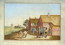KEGELN - KEGELSPIEL - handkolorierter Umrisskupferstich 1820!