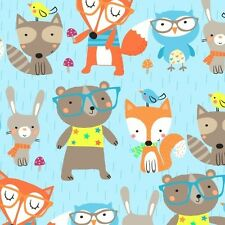 Fabric Woodland Animals Wearing Glasses on Flannel 1 Yard S