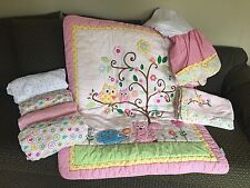 EUC Kidsline by Dena HAPPI Crib Bedding Set (7) Pc Pink Owl Hedgehog Comforter