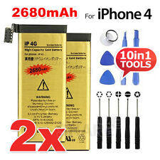 2x High Capacity 2680mAh  Replacement Battery For Apple iPhone 4 Gold Free Tool