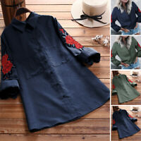 UK Women Long Sleeve Button Down Embroidery Shirt Casual Top Blouse Plus Size