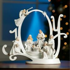 "Lighted Musical ""JOY TO THE WORLD"" Nativity Scene Christmas Tabletop Sculpture"