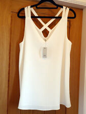 LADIES RIVER ISLAND CROSS BACK WHITE CAMI TOP SIZE 12 BRAND NEW WITH TAGS