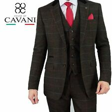Mens Cavani Tweed Check Herringbone Wool Blazer Waistcoat Trousers 3 Piece Suit