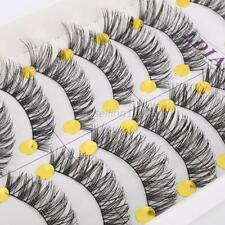 Long Thick Cross False Eyelashes Natural Makeup Fake Black Eye Lashes 10Pairs