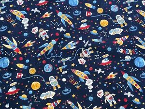 Space Fabric 100% Cotton Material   Astronaut Rocket