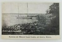 Postcard Mille Lacs Lake Minnesota Boat Man and Dog on Spider Island 1908