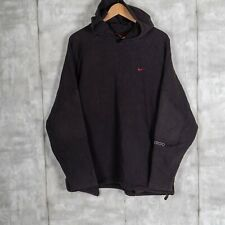 Vintage Nike Small Check Hoodie Sweatshirt Size Large Black Spell Out Sleeve