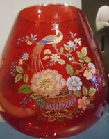"""Ruby Red 11-3/4"""" Glass Vase With Painted Flowers, Leaves, Peacock and Gold Trim"""