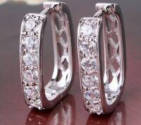 18K White Gold Diamond Hoop Earrings   336