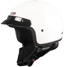 Tuzo Highway Gloss Black White Open Face Motorcycle Helmet XLarge 62cm
