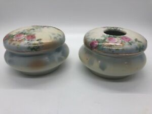 Antique Leuchtenburg Bavaria Porcelain Hair Receiver & Dresser Jar Roses Floral