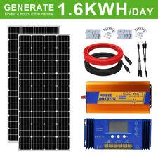 400W Mono Solar Kit W/2x195W Solar Panel+1KW Inverter for 12V Home Battery Power