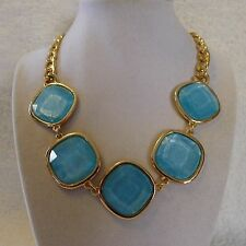Square Green, Pink, Blue, White Bead Gold Chain Necklace Earring Set