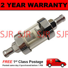 "5/16"" UNIVERSAL SMALL IN LINE FUEL FILTER CHROME METAL & GLASS WASHABLE"