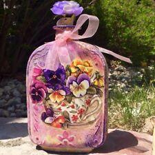 glass bottle decoupage,decorative two face glass bottle,decoupage,painted,unique