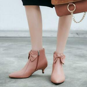 New Stylish Womens Pointy Toes Zip Low Heels Bow Tie Spring Autumn Ankle Boots
