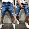 New Men shorts Jeans Short Pants Destroyed Skinny jeans Ripped Pant Frayed Denim
