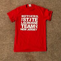 RUTGERS LACROSSE GAME / PLAYER ISSUED SIDELINE NIKE SHIRT SCARLET KNIGHT SIZE S