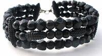 Vintage Black Glass Bead Bracelet Handmade Beads Triple Strand