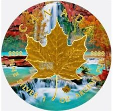 2017 1 Oz Silver MAPLE LEAF WATERFALL Coin. With 24K  GOLD GILDED.   IN CAPSULE.