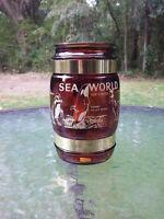"Vtg Sea World Amusement Theme Park Siesta Ware 5"" Glass Mug Wood Handle Shamu"
