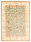 """Vintage Hand-knotted Carpet 8'5"""" x 11'0"""" Traditional Teal Wool Area Rug"""