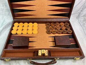 Vintage bakelite backgammon set checkers board case