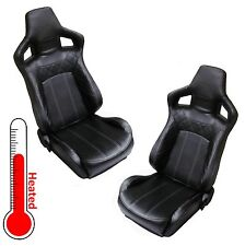 Heated Black Vinyl SVX style reclining bucket seats Land Rover Defender leather