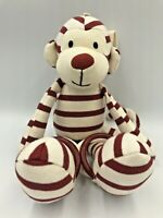 Jellycat Monkey Soft Toy Red/White Stripe Comforter Baby Rattle Cot Pram Buggy